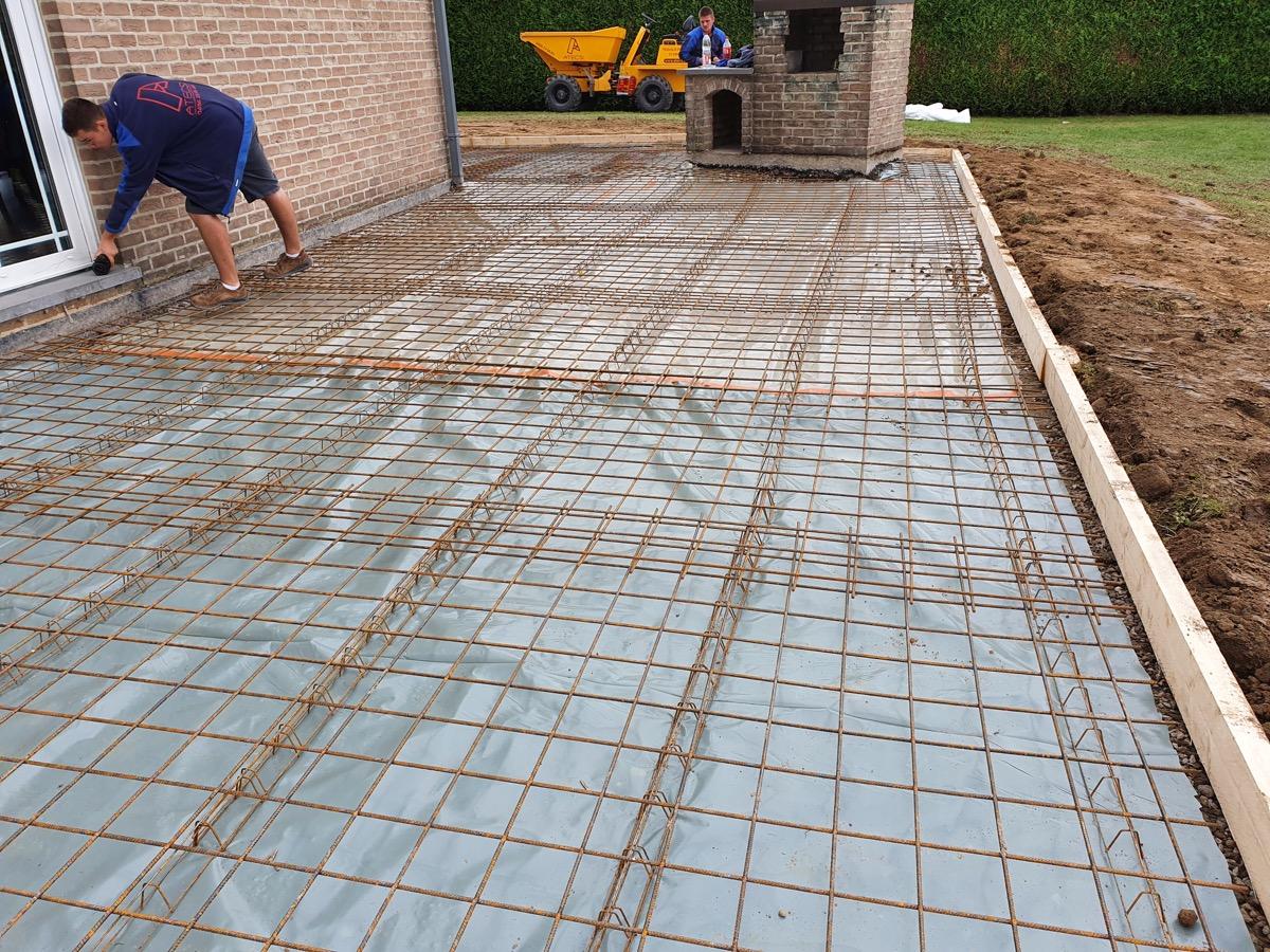 Terrasse en béton lissé à Awans